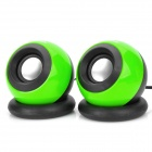 Appvei HT103 USB 3.5mm High-fidelity Multimedia Desktop Speakers - Green + Black (Pair)