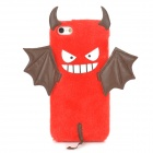 Cute Cartoon Devil Style Silicone + Lint Back Case for Iphone 5 / 5s - Red