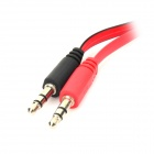 2 x 3,5 mm macho a hembra cable de audio plano - negro + rojo (20 cm)