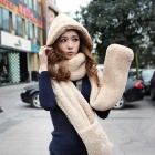 Multifunction Soft Berber Fleece Warm Scarf w/ Gloves / Hat for Women - Khaki