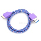 USB 3.0 Male to Micro 9-Pin Male Data Cable for Samsung N9000 - Purple + Multi-Colored