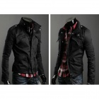 Fashion Men's Cotton Zipper Top Fly Coat - Black (Size L)