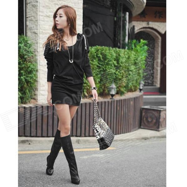 Fashion Cotton Long Sleeves Tight Dress w/ Hood - Black (Free Size) stylish cotton long sleeves one piece dress black multicolor size m