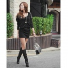 Fashion Cotton Long Sleeves Tight Dress w/ Hood - Black (Free Size)