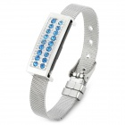 Stylish Shiny Crystal-inlaid Bracelet Style USB 2.0 Flash Drive - Silver + Blue (16GB)