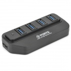 CQT-105 High Speed ​​5 Gbps USB 3.0 4-Port HUB w / 1000mA AC Power Charger / USB Kabel - Schwarz