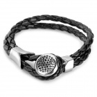 SHIYING G4FA8C24798969 Dynamic Cow Leather Stainless Steel Bracelet for Men - Black