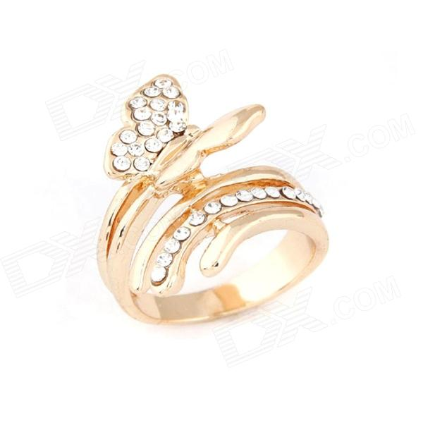 Fashionable Lovely OL Dominate Flying Butterfly Ring - Golden