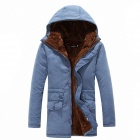 Stylish Men's Plus Velvet Long Sections Coat - Denim Blue (Size-L)
