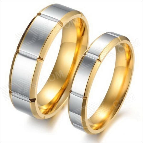 GJ296 Retro 316L Stainless Steel Couple's Rings - Golden + Silver (Size 9 + 7 / 2 PCS) купить