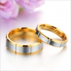 GJ296 Retro 316L Stainless Steel Couple's Rings - Golden + Silver (Size 9 + 7 / 2 PCS)