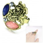 EQute RPEW10C99 Vintage Rose Flower Style Zinc Alloy Adjustable Women's Ring - Bronze