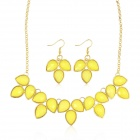 EQute PPEW16C7 Statement Bubble Drop Necklace + Earrings Set - Yellow + Golden