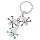 Cool Skull Style Stainless Steel Keychain - Silver + Pink + Black + Blue