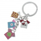 Fashionable T-Shirt Style Stainless Steel Keychain - Silver + Red + Pink + Blue