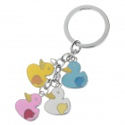 Lovely Duck Style Stainless Steel Keychain - Silver + Blue + Pink + Yellow (2 PCS)
