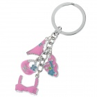 Fashionable Bikini + Hat Decoration Stainless Steel Keychain - Silver + Deep Pink + Blue (2 PCS)