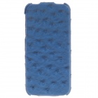 SAYOO 2402 Ostrich Striation Protective PU Leather Case Cover for Iphone 5 - Blue