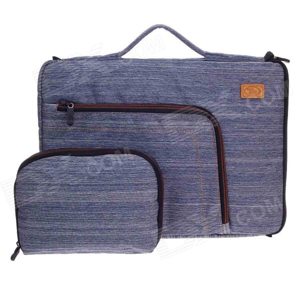 Tee 15 Shock-Proof Water Resistant One-shoulder Sleeves Bag w/ Handle for Notebook - Blue + White - DXBags &amp; Pouches<br>Outside size of the big bag: 41 x 30 x 3cm; Inside size of the big bag: 40 x 28 x 3cm; Outside size of the small bag: 23 x 17 x 1cm; Inside size of the small bag: 20.5 x 16 x 1cm; Fashionable appearance and practical; This bag is made of durable denim fabrics; Velvet material add in the lining very soft and comfortable with shock and water proof function offers more meticulous protection for your notebook; With strap and handle the handle and strap can be collected up; Multi-function carry way hand carry horizontal straps or vertical straps is convenient comfortable and easy to carry; It even has an additional external pocket for storing accessories; Also equipped with a small bag for smartphone card etc.<br>