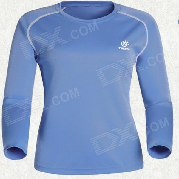 TECTOP Outdoor Women's Quick-Drying Long Sleeve T-Shirt - Ligt Blue + White (Size S)
