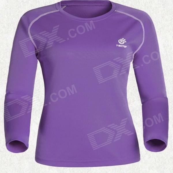 TECTOP Outdoor Women's Quick-Drying Long Sleeve T-Shirt - Purple + White (Size S)
