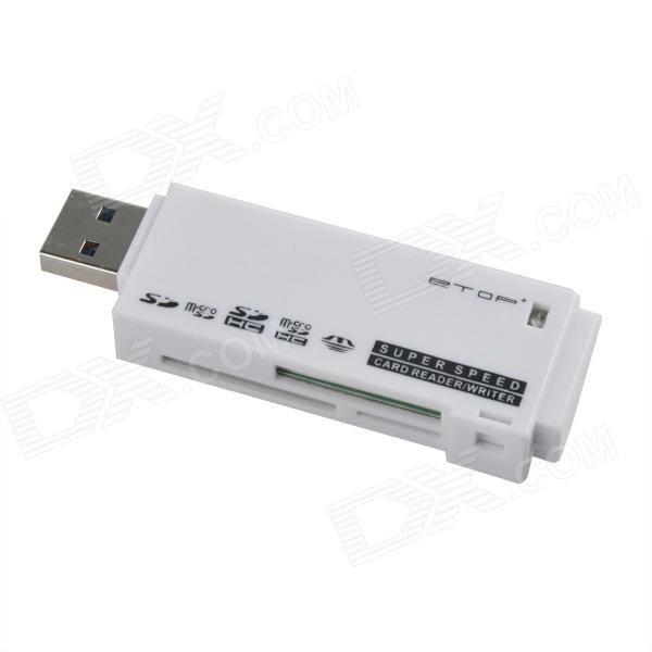 ETOP-U3-02 Super Speed USB 3.0 Micro SD / TF / SD / MS / M2 Card Reader - White (Max. 64GB) ssk scrm056 usb 3 0 5gbps high speed multifunctional card reader white silver grey max 64gb
