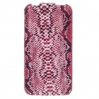 SAYOO Snakeskin Regulus Series Vertical Open Protective PU Leather Case for Iphone 4S - Red + Black