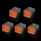 Jtron 4 Hole Wire Terminal Block Connector - Orange + Transparent (5 PCS)