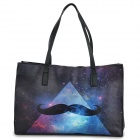 JM02016 Fashion Mustache Pattern Women's PU Tote Bag - Black