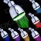8010-A6 7-Color Changing LED Wall Mount Round Shower Head - Silver