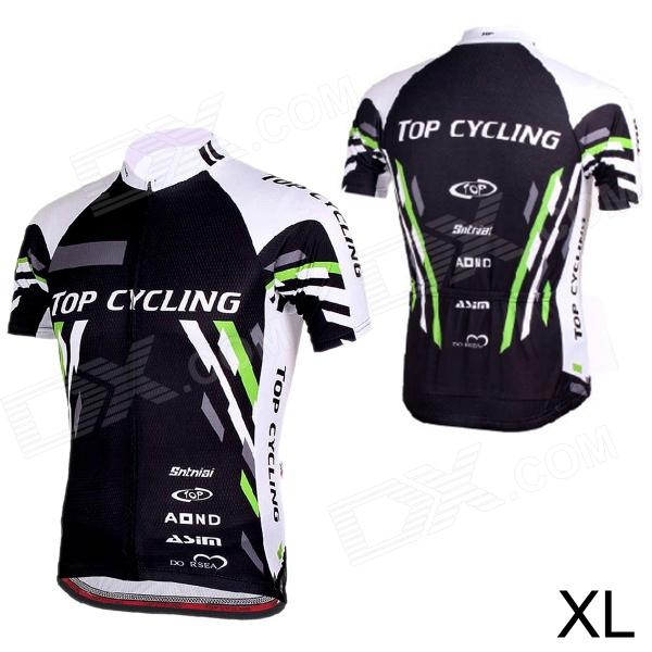 TOPCYCLING SAD209 Outdoor Cycling Men's Short Jersey Clothes - Black + White (Size XL)