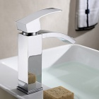 YDL-F-0516 Contemporary Brass Chrome Vertical Bathroom Sink Faucet - Silver