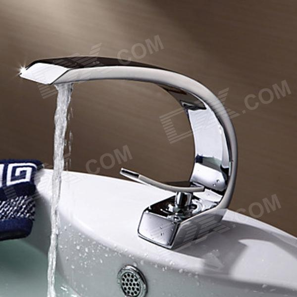 YDL-F-0518 Contemporary Brass One Handle One Hole Hot / Cold Water Bathroom Sink Faucet - Silver