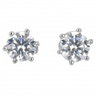 K113 Elegant Women's 18K Platinum Zircon Earrings - Silver (Pair)