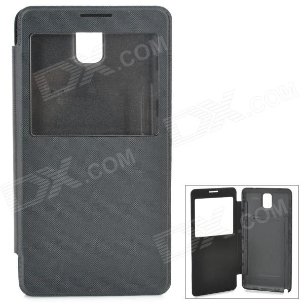 Y-1 Protective PU Leather Case w/ Display Window for Samsung Galaxy Note 3 N9006 / N9002 - Black