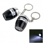WaLangTing Water Resistant 6-LED White Flashlight Keychain - Black + Silver (2 x CR2032 / 2 PCS)