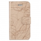 TRE-001 Protective Flip Open PU Leather Case w/ Auto Sleep for Iphone 4 / 4S - Golden