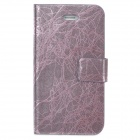 TRE-001 Protective Flip Open PU Leather Case w/ Auto Sleep for Iphone 4 / 4S - Purple