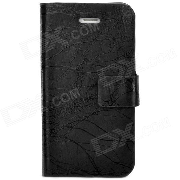 TRE-001 Protective Flip Open PU Leather Case w/ Auto Sleep for Iphone 4 / 4S - Black protective pu leather flip open case for iphone 4 4s black