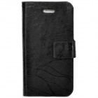 TRE-001 Protective Flip Open PU Leather Case w/ Auto Sleep for Iphone 4 / 4S - Black