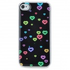 Fantasy Heart Pattern Epoxy Dripping Plastic Back Case for Iphone 4 / 4S - Black + Multicolored
