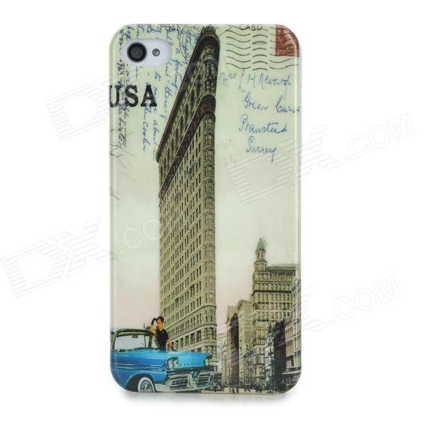 Protective Street Car Pattern Back Case for Iphone 4 / 4S - Blue + Brown