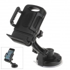 360 Degree Rotation Holder Mount w/ H17 Suction Cup + C66 Back Clamp Bracket for Mobile - Black