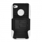 Protective PC + Silicone Back Case w/ Stand + Anti-Dust Plug for Iphone 4 / 4S - White + Black