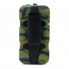 Protective Plastic + Silicone Back Case w/ Stand for Iphone 5C - Army Green