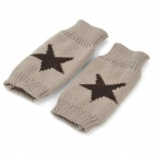 Fashion Five Star Pattern Half-finger Woolen Yarn Warm Gloves for Women - Brown + Dark Grey (Pair)
