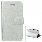 TRE-001 Protective Flip Open PU Leather Case w/ Auto Sleep for Iphone 4 / 4S - Silver