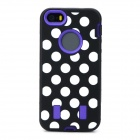 3-in-1 Polka Dot Style Protective Silicone + PC Case for Iphone 5 / 5s - Black + White + Purple