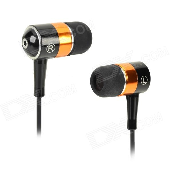 SEO8 ABS + Aluminum Alloy 3.5mm Plug In-ear Stereo Earphone - Black + Golden