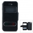 Stylish Protective PU Leather + Plastic Case w/ Display Window for IPHONE 4 / 4S - Black